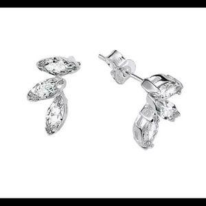 Sterling Silver Cluster CZ Earrings